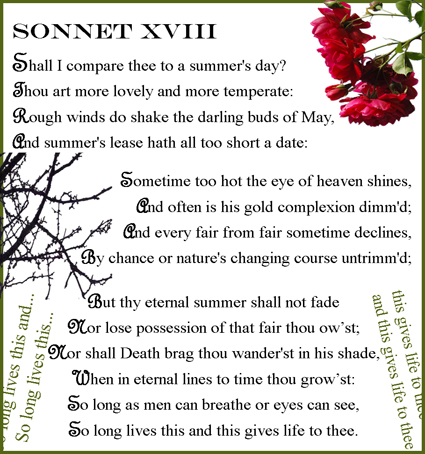 an analysis of metaphors in sonnet 18 a sonnet by william shakespeare An analysis of shakespeare's sonnet 116 shakespeare's sonnet 116 analysis of william shakespeare's sonnet 19 500 words sonnets 18-125 deal gradually with many themes associate with a handsome young man.
